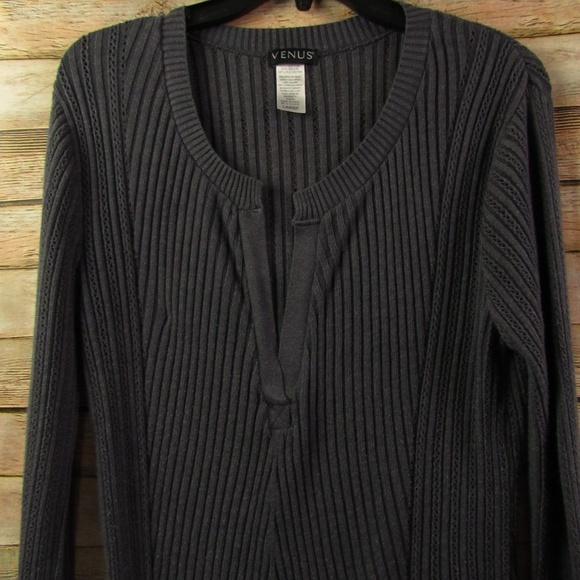 Venus Charcoal Knit V Neck Ribbed Sweater L